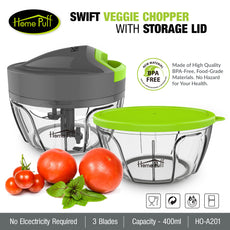 HomePuff 3 Blades Vegetable Chopper, cutter With Lid (400ml)