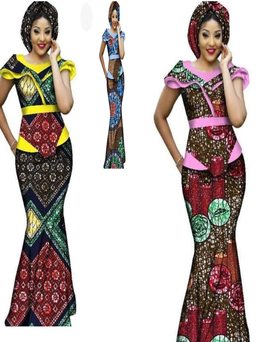 Julux African Cotton Three Piece Women Ankara Long Dress JU001 Red and Brown collection-FrenzyAfricanFashion.com