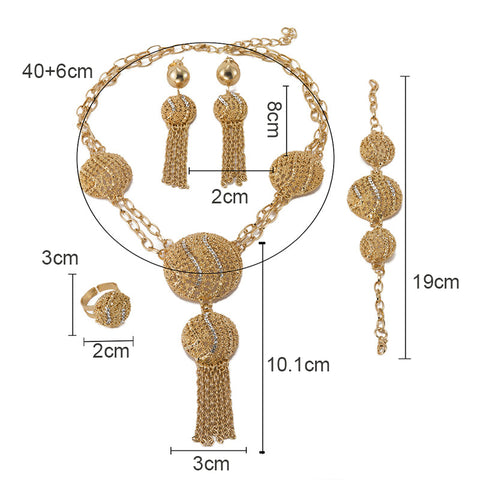 Image of Lorna Designs African Gold Beads women Dubai jewelry sets necklace Earrings Set-FrenzyAfricanFashion.com