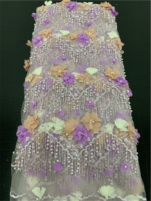 3D Flowers Lace Fabric Luxury Beaded Tulle French Net For Dresses-FrenzyAfricanFashion.com