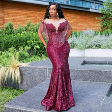 Load image into Gallery viewer, Burgundy Mermaid Sequins Evening Dress Sheer Neck Beads Mermaid Prom Dresses Tassel Gown-FrenzyAfricanFashion.com