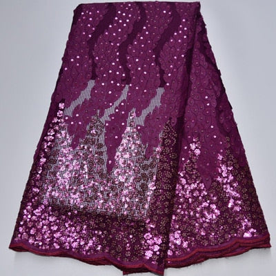 Tossi Laser Cut Beaded Lace Sequin French Net Wedding Fabric 5 Yards-FrenzyAfricanFashion.com