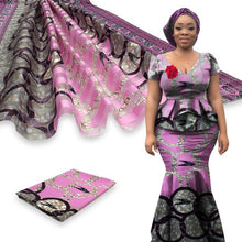 Load image into Gallery viewer, Silk African Print Satin Ribbon Mixed Chiffon Fabric Ankara Designs 6 Yard-FrenzyAfricanFashion.com