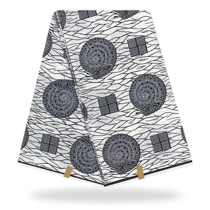 African Fabric By the Yard White Cotton Ankara Snail Print #01-FrenzyAfricanFashion.com