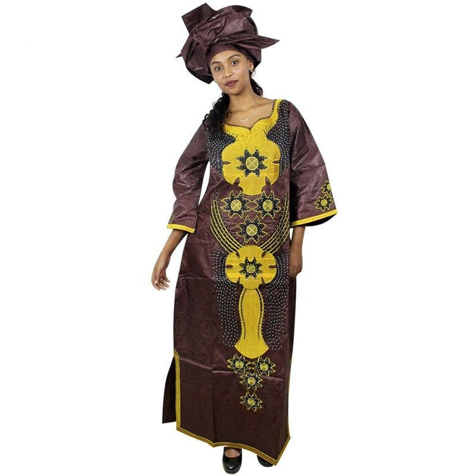 Pamy Long Embroidered African Dresses with Scarf Headtie Set A019P-FrenzyAfricanFashion.com