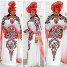 Load image into Gallery viewer, Bibi Designer Dashiki Long Cape Red Floral Maxi White Party Dress-FrenzyAfricanFashion.com