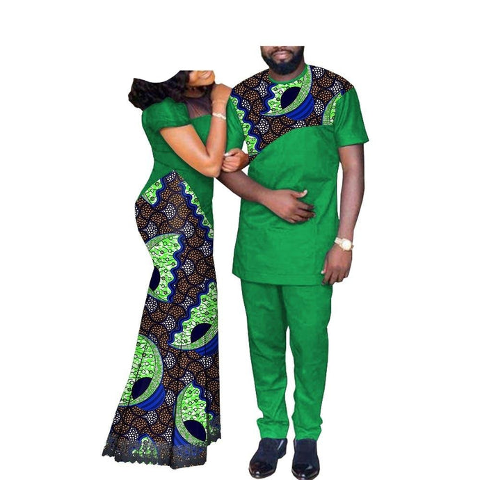 African Couples Clothing Matching Set Green Lina A023-FrenzyAfricanFashion.com