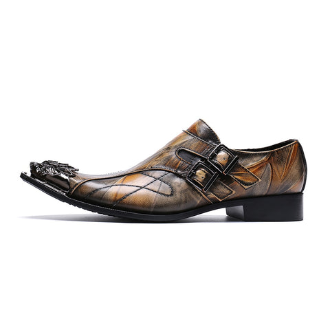 Image of Cuzzo Oxford Men Dress Brown Leather Shoes-FrenzyAfricanFashion.com