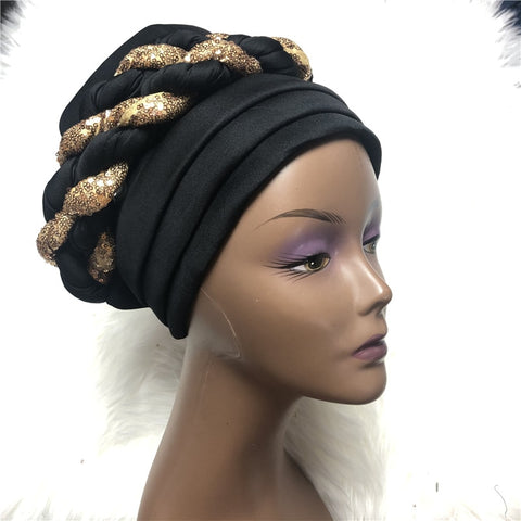 Image of Braided Headtie Nigerian Aso Oke Gele Already Made Auto Gele Turban Chemo Cap-FrenzyAfricanFashion.com