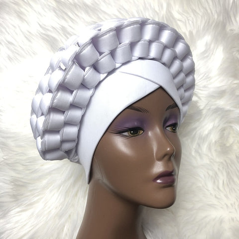 Braided Headtie Nigerian Aso Oke Gele Already Made Auto Gele Turban Chemo Cap-FrenzyAfricanFashion.com