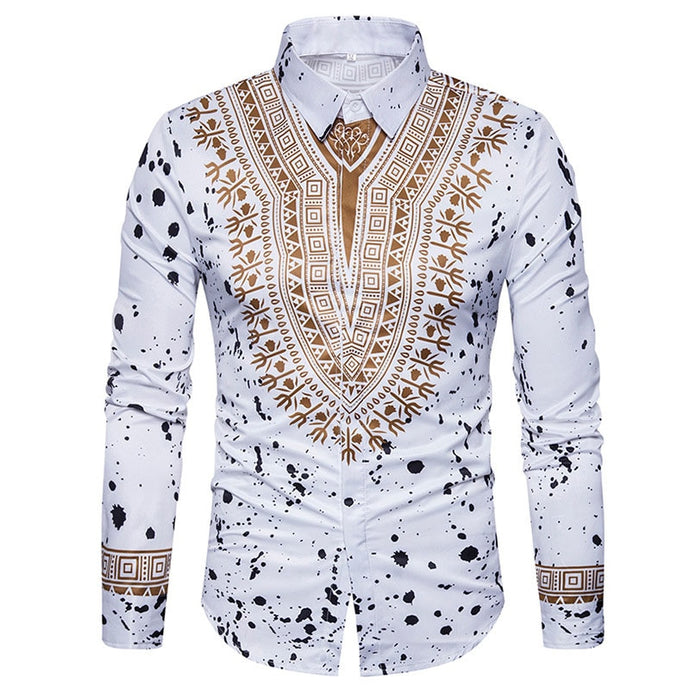 Dannex 3D Print African Dashiki Slim Fit Men Short and Long Sleeve Shirts-FrenzyAfricanFashion.com