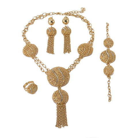 Lorna Designs African Gold Beads women Dubai jewelry sets necklace Earrings Set-FrenzyAfricanFashion.com