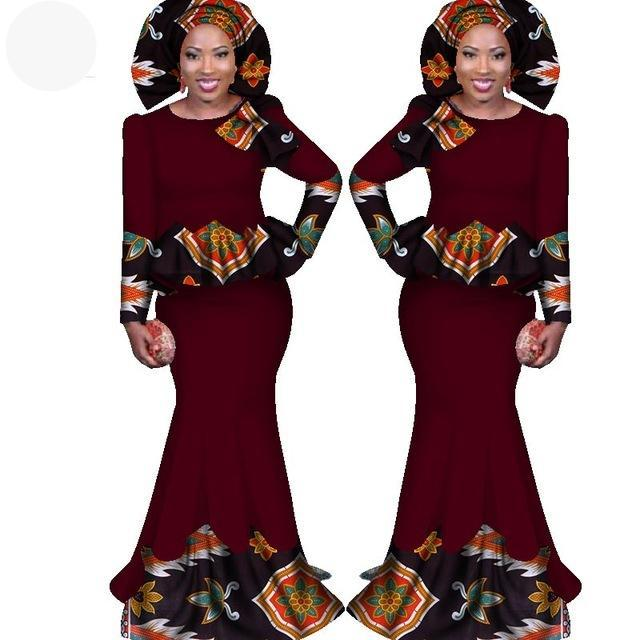 Lorinda Solid Color African Women Two Pieces Ankara Long Dress Set 2-FrenzyAfricanFashion.com