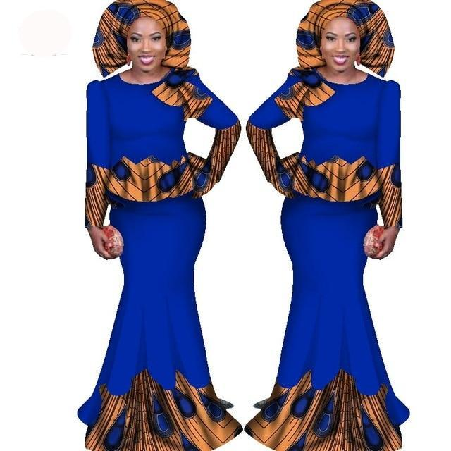 Julux Solid Color African Women Two Pieces Ankara Long Dress Set Md Frenzyafricanfashion Com