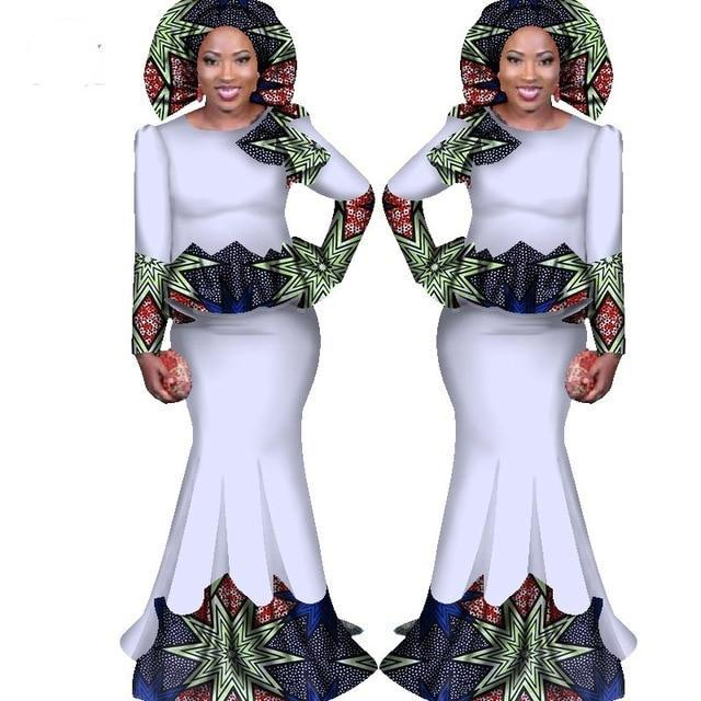 Julux Solid Color African Women Two Pieces Ankara Long Dress Set MD-FrenzyAfricanFashion.com