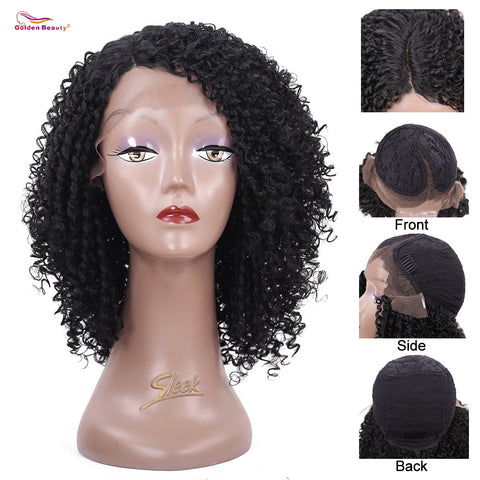 I Love Dreads Short Kinky Curly Wig Lace Front Hair-FrenzyAfricanFashion.com