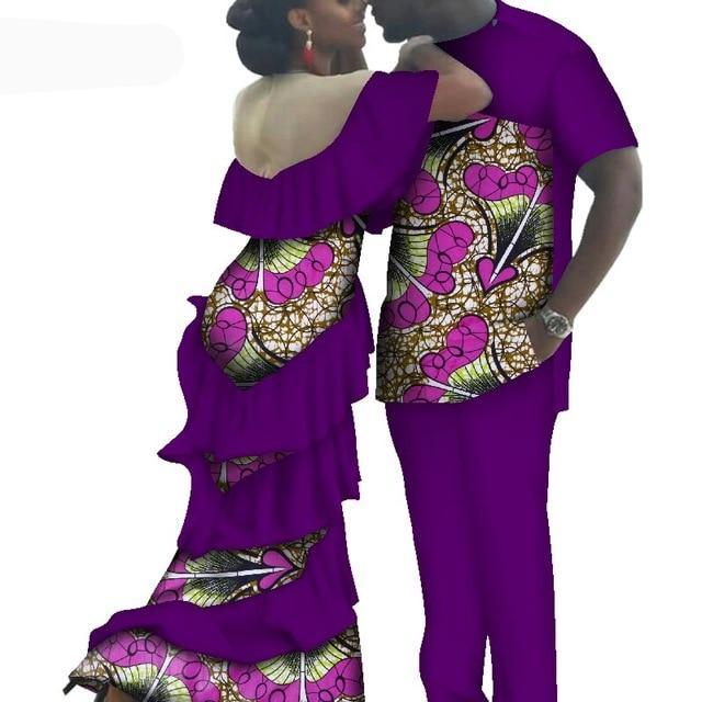 Kente Afrik African Couples Clothing Matching Set Purple-FrenzyAfricanFashion.com