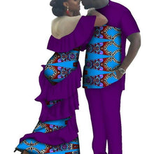 Load image into Gallery viewer, Kente Afrik African Couples Clothing Matching Set Purple-FrenzyAfricanFashion.com
