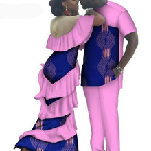 Load image into Gallery viewer, Kente Afrik African Couples Clothing Matching Set Green-FrenzyAfricanFashion.com