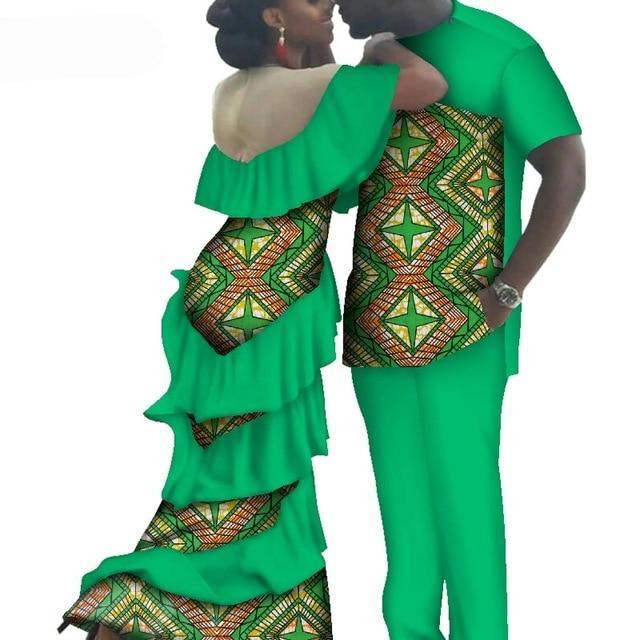 Kente Afrik African Couples Clothing Matching Set Green-FrenzyAfricanFashion.com