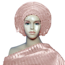Load image into Gallery viewer, Gailis 2PCS Beaded Ready to Wear Gele Headtie With Shoulder Shawl-FrenzyAfricanFashion.com
