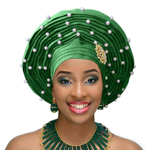 Gailis African Gele Already Made Aso Oke Headtie with Pearl Beads Broach African Headwear Turban-FrenzyAfricanFashion.com