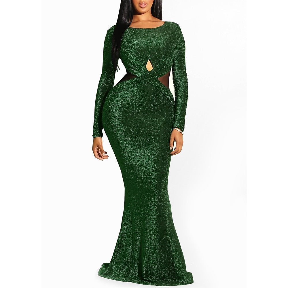 ff0d6c84672b Hover to zoom · Elegant Sequin Backless Sheer Evening Mermaid Best Party  Club Long Sexy Dress Bodycon-FrenzyAfricanFashion.