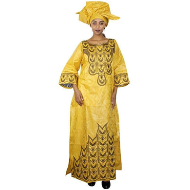 Embroidery Design LongYellow Gold african dresses Cotton Jojo collections-FrenzyAfricanFashion.com