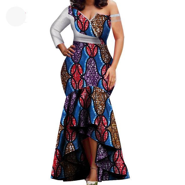African Garment High Low Party One Shoulder Dress B1-FrenzyAfricanFashion.com