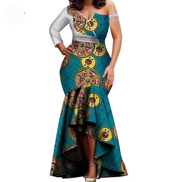 African Garment High Low Party One Shoulder Dress MDS-FrenzyAfricanFashion.com