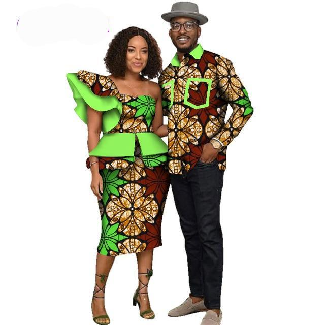 Fabulosity African Couple Clothing Green Prints-FrenzyAfricanFashion.com