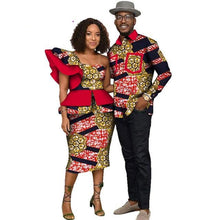 Load image into Gallery viewer, Fabulosity African Couple Clothing Blue Ankara Dress and Shirt-FrenzyAfricanFashion.com