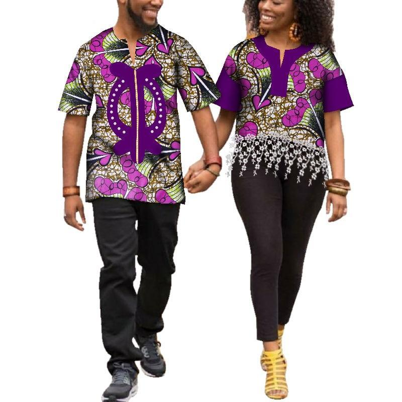 Kente Afrik African Print Patchwork and Tassels Shirt Couple Clothing-FrenzyAfricanFashion.com