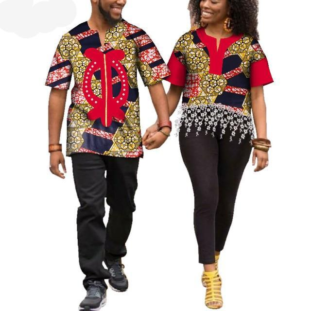 Kente Afrik African Print Patchwork and Tassels Shirt Couple Clothing Pt2-FrenzyAfricanFashion.com