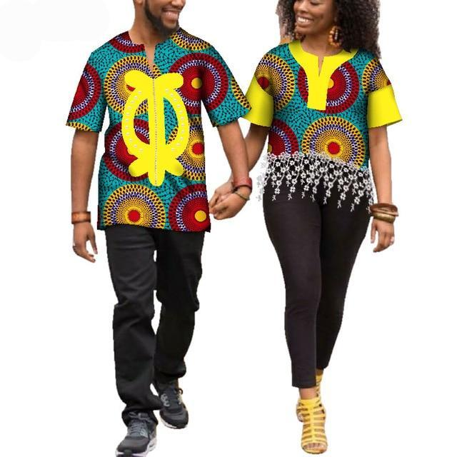 Kente Afrik African Print Patchwork and Tassels Shirt Couple Clothing Pt1-FrenzyAfricanFashion.com