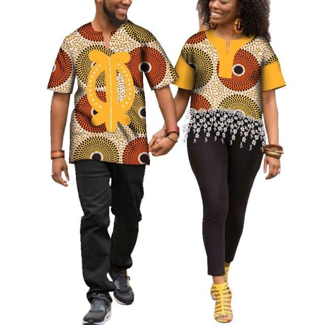 Kente Afrik African Print Patchwork and Tassels Shirt Couple Clothing Pt3-FrenzyAfricanFashion.com
