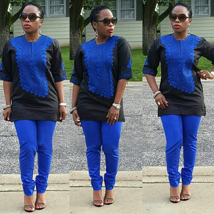 Deede African Women Clothing African Traditional Bazin Embroidery Design Blue Top with Pants Set-FrenzyAfricanFashion.com