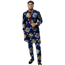 Load image into Gallery viewer, Benino African clothing men's print set shirt with trouser patchwork Ankara-FrenzyAfricanFashion.com