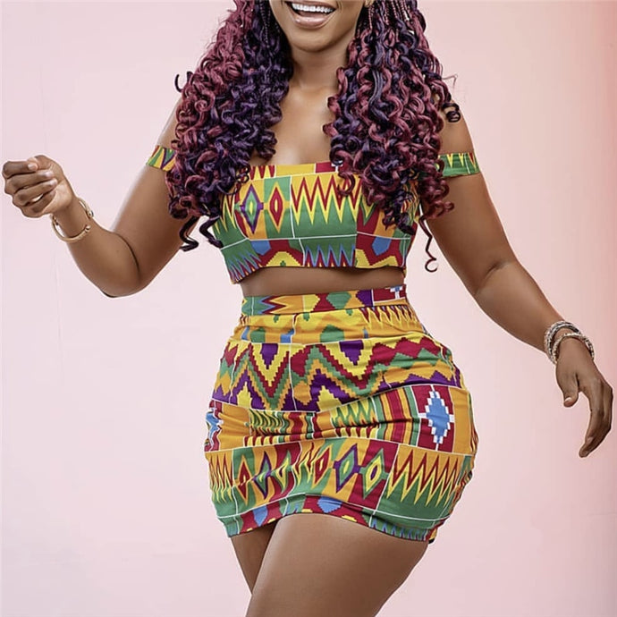 Best Party Printed Kente Two Piece Sets Women's Crop Tops and skirt-FrenzyAfricanFashion.com