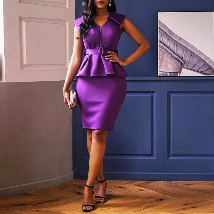 Elegant Purple Dress Best Party Ladies Pencil Bodycon 2 piece Skirt and Top-FrenzyAfricanFashion.com
