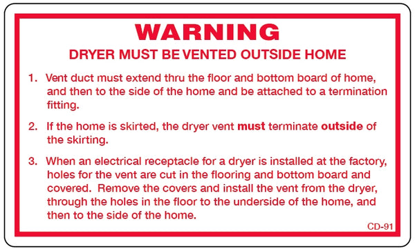 CD-91: Dryer vent instructions. Pack of 100.