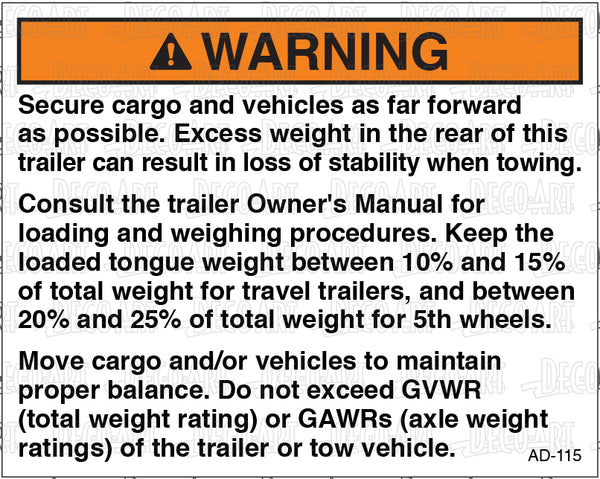AD-115: Instructions for maintaining proper cargo balance. Pack of 100.
