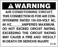 AS-96: Air-conditioning circuit. Pack of 100.