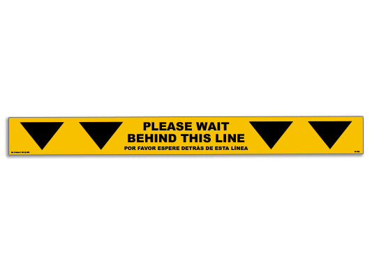 Wait Behind Yellow Line Floor Graphic (Bilingual) - Pack of Five for $20.00