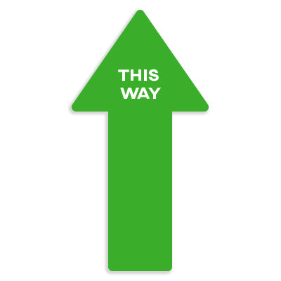"Green Arrow Floor Graphics ""THIS WAY"" - Pack of Five for $15.00"