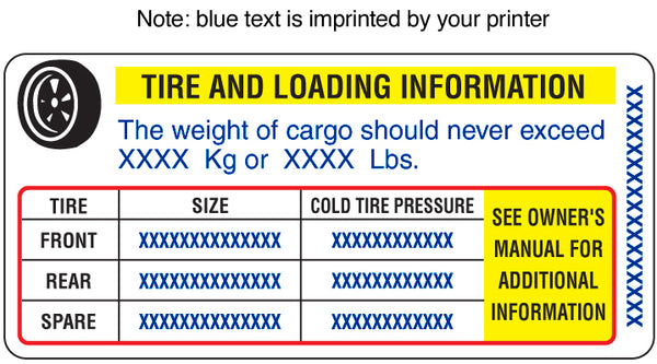 FD-314: Tire placards for U.S.A. Laser imprintable. Pack of 100.