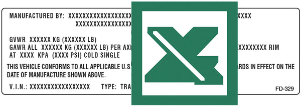 FD-329 template for imprinting variable data. Part #: FD-905