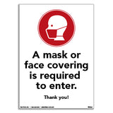 SDG001: Masks or Face Covering Required - Pack of Five for $15.00 - Door Graphic