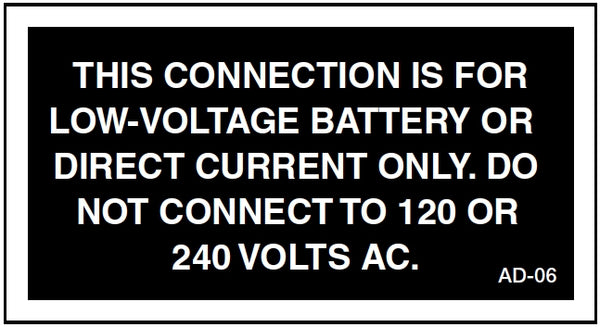 AD-06: Connection for low voltage battery or direct current only. Pack of 100.