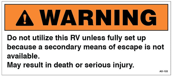 AD-122: Do not utilize this RV unless fully set up. Pack of 100.